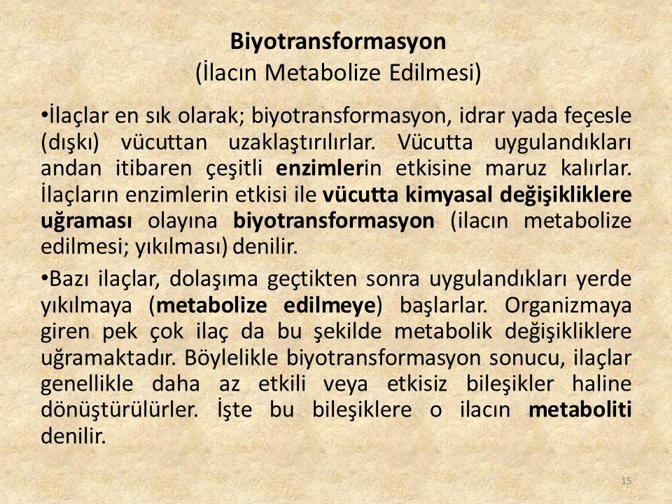 İlaçlar en sık olarak; biyotransformasyon, idrar yada feçesle (dışkı) vücuttan uzaklaştırılırlar. Vücutta uygulandıkları andan itibaren çeşitli enziml