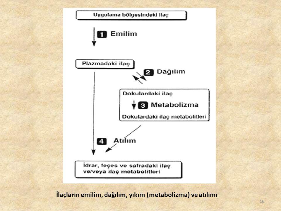 16 İlaçların emilim, dağılım, yıkım (metabolizma) ve atılımı
