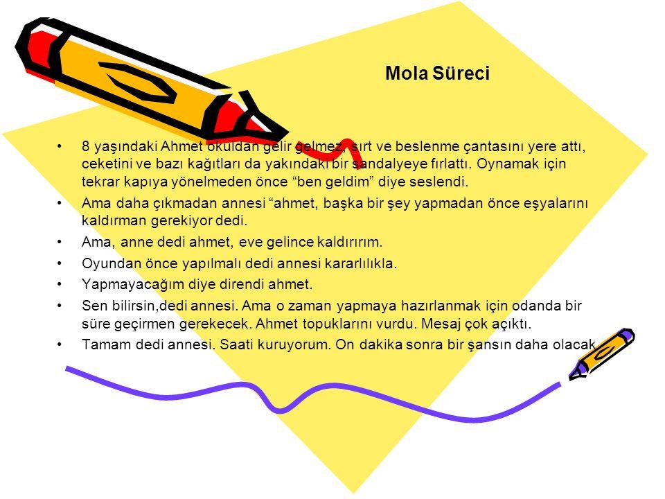 Mola Süreci 8 yaşındaki Ahmet okuldan gelir gelmez, sırt ve beslenme çantasını yere attı, ceketini ve bazı kağıtları da yakındaki bir sandalyeye fırla
