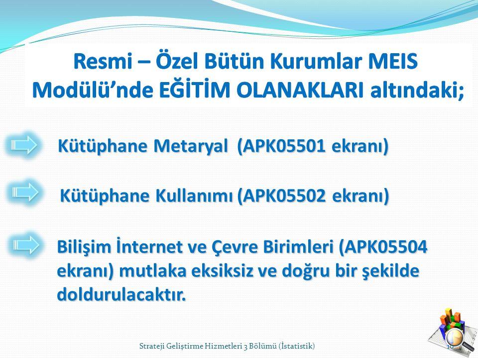 Kütüphane Metaryal (APK05501 ekranı) Kütüphane Kullanımı (APK05502 ekranı) Bilişim İnternet ve Çevre Birimleri (APK05504 ekranı) mutlaka eksiksiz ve d