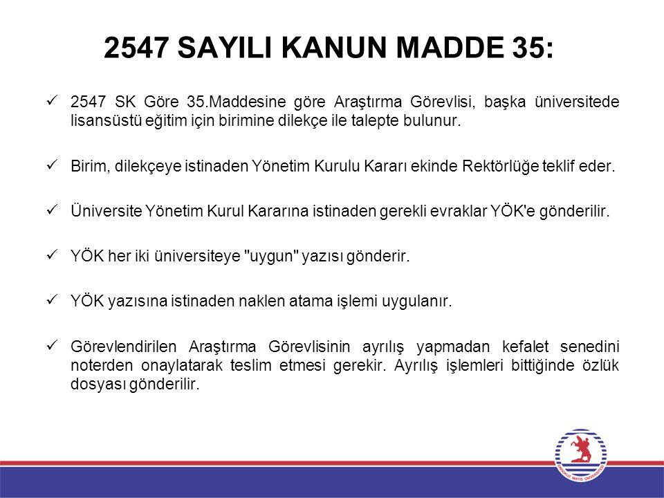 2547 SAYILI KANUN MADDE 35: 2547 SK Göre 35.Maddesine göre Araştırma Görevlisi, başka üniversitede lisansüstü eğitim için birimine dilekçe ile talepte