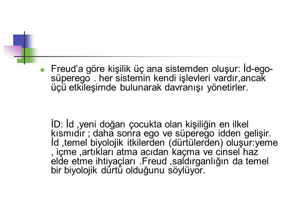 Freud'a göre kişilik üç ana sistemden oluşur: İd-ego- süperego.