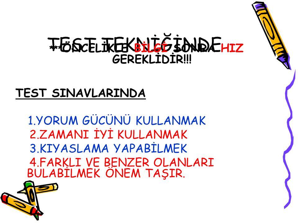 TEST TEKNİĞİNDE *** ÖNCELİKLE BİLGİ SONRA HIZ GEREKLİDİR!!.