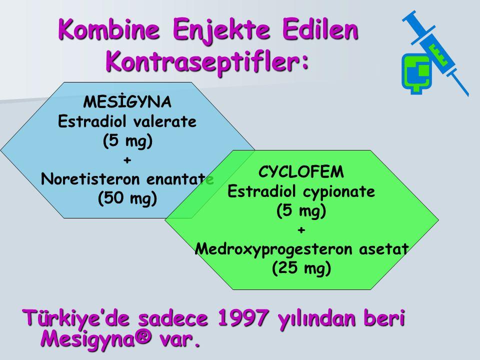 Kombine Enjekte Edilen Kontraseptifler: Türkiye'de sadece 1997 yılından beri Mesigyna® var.