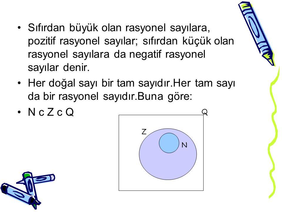 Sıfırdan büyük olan rasyonel sayılara, pozitif rasyonel sayılar; sıfırdan küçük olan rasyonel sayılara da negatif rasyonel sayılar denir. Her doğal sa