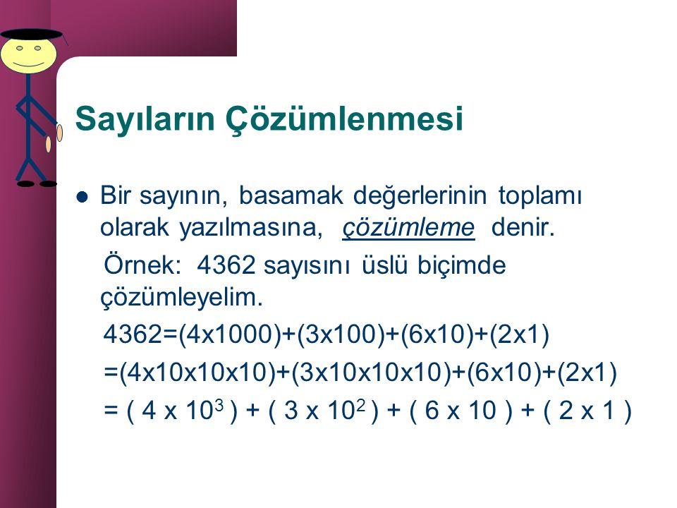 Üslü Sayılarda Sıralama Tabanları aynı üsleri farklı olan sayılarda, üssü büyük olan sayı daha büyüktür. Bu özellikler, tabanın 1 ve 0'dan farklı oldu