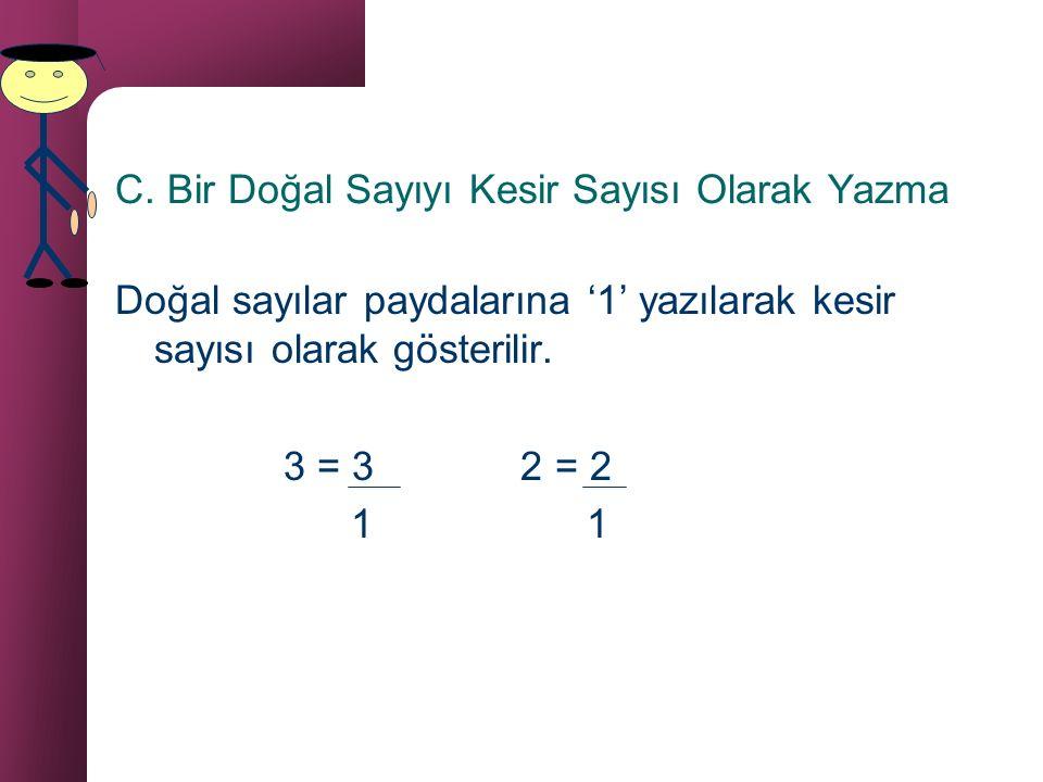 B.Kesir Birimi Payı '1' olan her kesir sayısına kesir birimi denir. 1 4