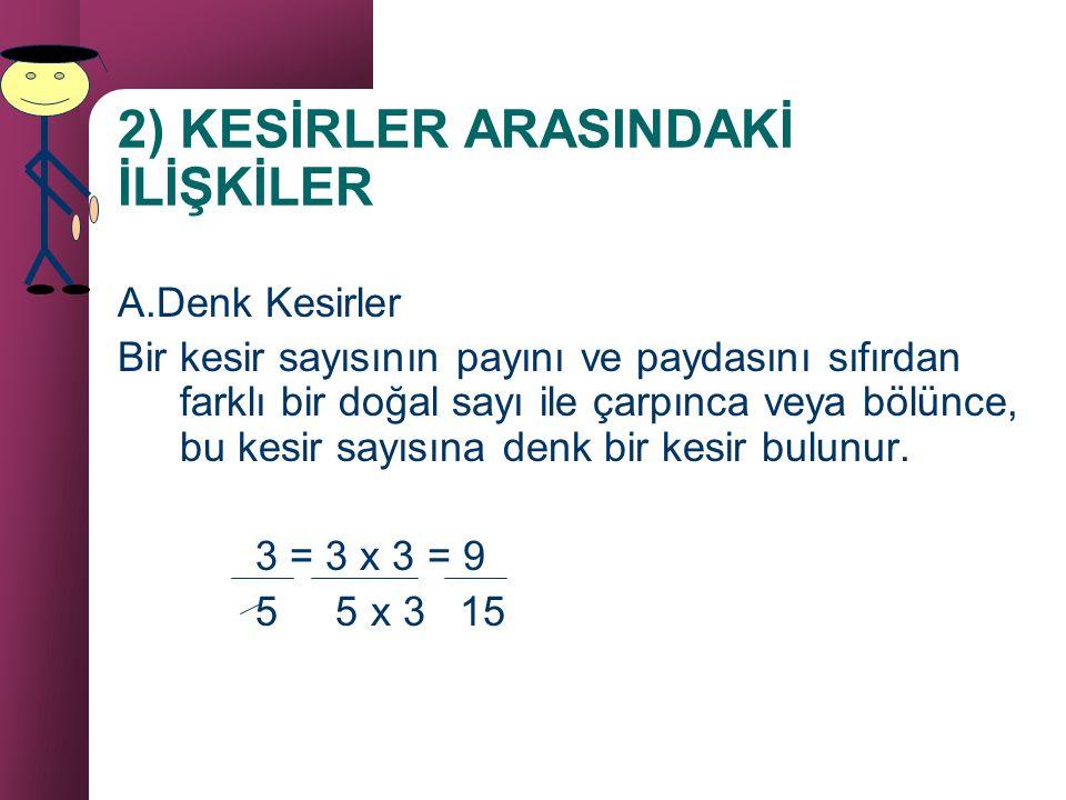 b) Bileşik kesir sayısını tamsayılı kesir sayısına çevirme 7 7 4 payda 4 4 1 3 tamsayı pay 1 3 4