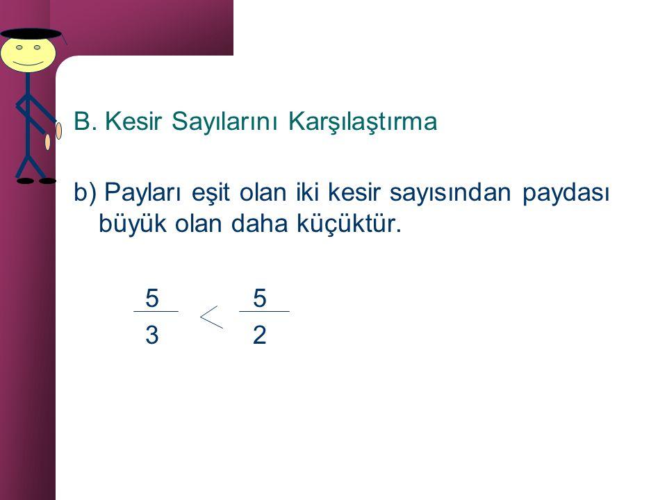 B. Kesir Sayılarını Karşılaştırma a) Paydaları eşit olan iki kesir sayısından payı küçük olan daha küçüktür. 3 4 5 5