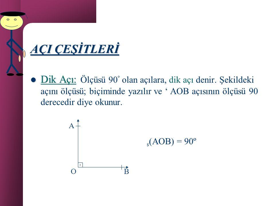 AÇI Örnek: Aşağıdaki şekilde kaç tane açı vardır ve hangileridir? D C B A Çözüm: 3 tane vardır. Bunlar; DBC, CBA ve DBA açılarıdır.
