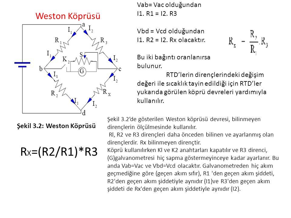Şekil 3.2: Weston Köprüsü Vab= Vac olduğundan I1. R1 = I2. R3 Vbd = Vcd olduğundan I1. R2 = I2. Rx olacaktır. Bu iki bağıntı oranlanırsa bulunur. RTD'