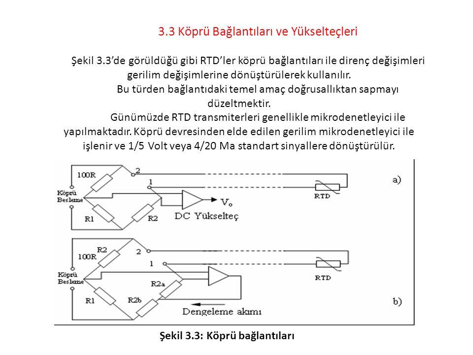 3.3 Köprü Bağlantıları ve Yükselteçleri Şekil 3.3'de görüldüğü gibi RTD'ler köprü bağlantıları ile direnç değişimleri gerilim değişimlerine dönüştürül