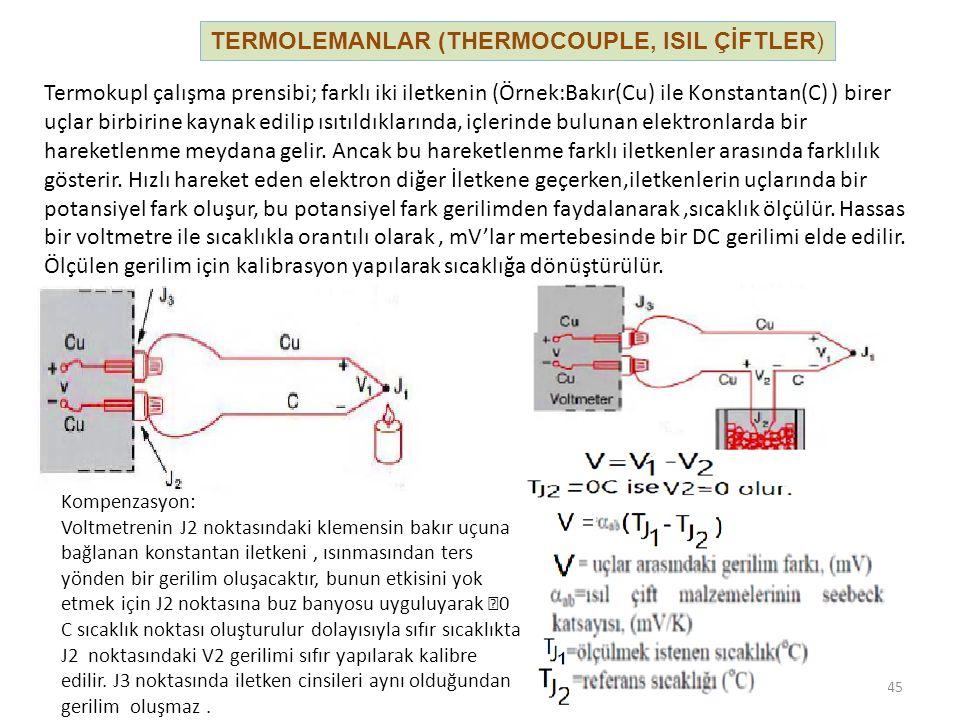 TERMOLEMANLAR (THERMOCOUPLE, ISIL ÇİFTLER) 45 Termokupl çalışma prensibi; farklı iki iletkenin (Örnek:Bakır(Cu) ile Konstantan(C) ) birer uçlar birbir