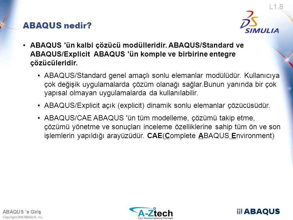 Copyright 2006 ABAQUS, Inc. ABAQUS/Standard ve ABAQUS/Explicit Genel Özellikleri