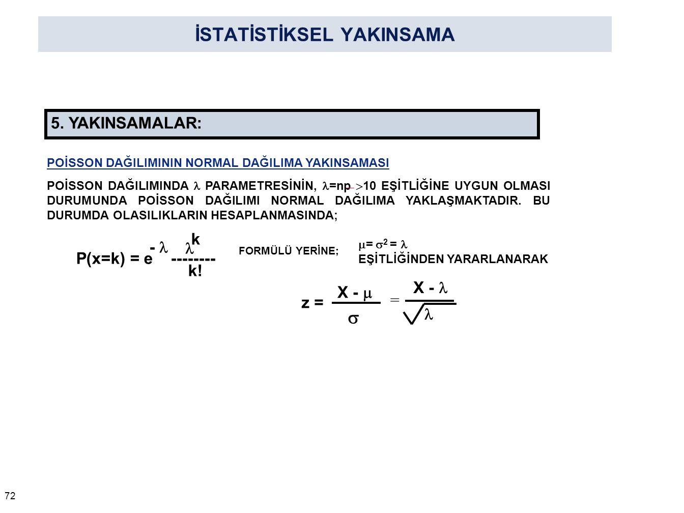 İSTATİSTİKSEL YAKINSAMA 72 5. YAKINSAMALAR: P(x=k) = e -------- - k k! FORMÜLÜ YERİNE; X - = X -   z = POİSSON DAĞILIMININ NORMAL DAĞILIMA YAKINSAMA
