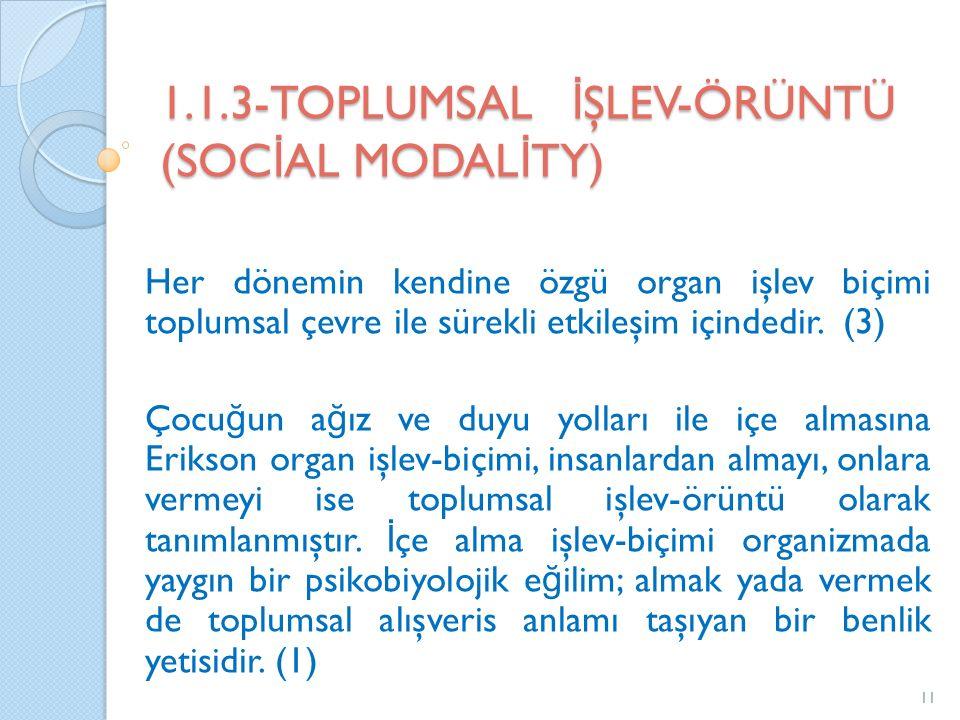 1.1.3-TOPLUMSAL İ ŞLEV-ÖRÜNTÜ (SOC İ AL MODAL İ TY) Her dönemin kendine özgü organ işlev biçimi toplumsal çevre ile sürekli etkileşim içindedir.