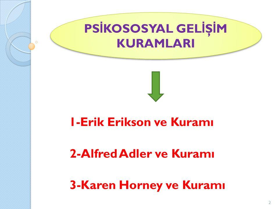 1-Erik Erikson ve Kuramı 2-Alfred Adler ve Kuramı 3-Karen Horney ve Kuramı PS İ KOSOSYAL GEL İ Ş İ M KURAMLARI 2