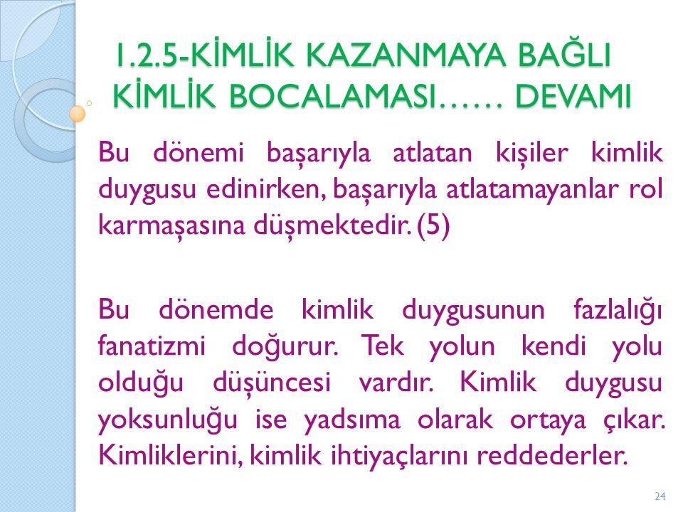 1.2.5-K İ ML İ K KAZANMAYA BA Ğ LI K İ ML İ K BOCALAMASI…… DEVAMI Bu dönemi başarıyla atlatan kişiler kimlik duygusu edinirken, başarıyla atlatamayanlar rol karmaşasına düşmektedir.