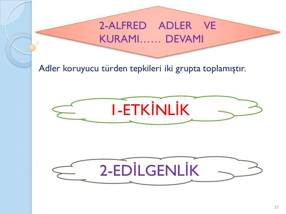 Adler koruyucu türden tepkileri iki grupta toplamıştır. 2-ALFRED ADLER VE KURAMI…… DEVAMI 1-ETK İ NL İ K 2-ED İ LGENL İ K 37