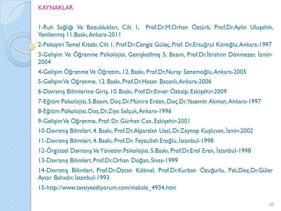 KAYNAKLAR 1-Ruh Sa ğ lı ğ ı Ve Bozuklukları, Cilt 1, Prof.Dr.M.Orhan Öztürk, Prof.Dr.Aylin Uluşahin, Yenilenmiş 11.Baskı, Ankara-2011 2-Psikaytri Temel Kitabı, Cilt 1, Prof.Dr.Cengiz Güleç, Prof.