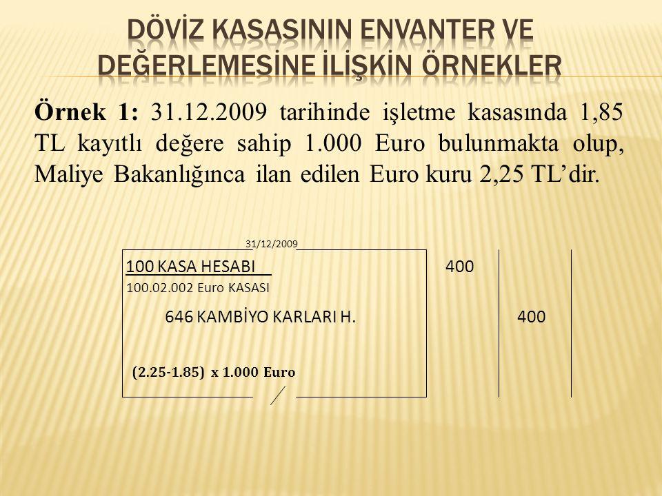 Örnek 1: 31.12.2009 tarihinde işletme kasasında 1,85 TL kayıtlı değere sahip 1.000 Euro bulunmakta olup, Maliye Bakanlığınca ilan edilen Euro kuru 2,2