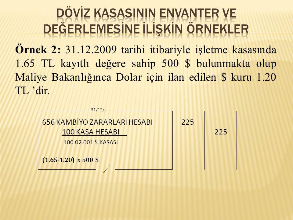 Örnek 2: 31.12.2009 tarihi itibariyle işletme kasasında 1.65 TL kayıtlı değere sahip 500 $ bulunmakta olup Maliye Bakanlığınca Dolar için ilan edilen $ kuru 1.20 TL 'dir.
