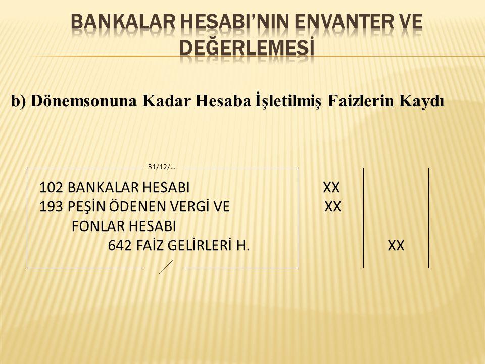 b) Dönemsonuna Kadar Hesaba İşletilmiş Faizlerin Kaydı 102 BANKALAR HESABI XX 193 PEŞİN ÖDENEN VERGİ VE XX FONLAR HESABI 642 FAİZ GELİRLERİ H.