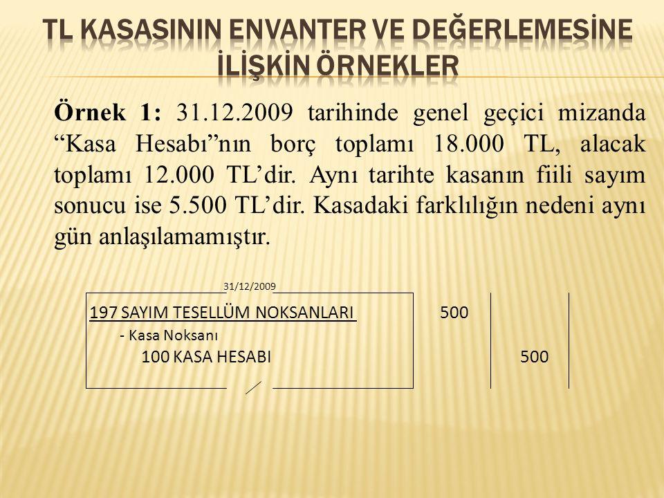 """Örnek 1: 31.12.2009 tarihinde genel geçici mizanda """"Kasa Hesabı""""nın borç toplamı 18.000 TL, alacak toplamı 12.000 TL'dir. Aynı tarihte kasanın fiili s"""
