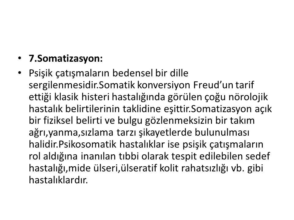 7.Somatizasyon: Psişik çatışmaların bedensel bir dille sergilenmesidir.Somatik konversiyon Freud'un tarif ettiği klasik histeri hastalığında görülen ç