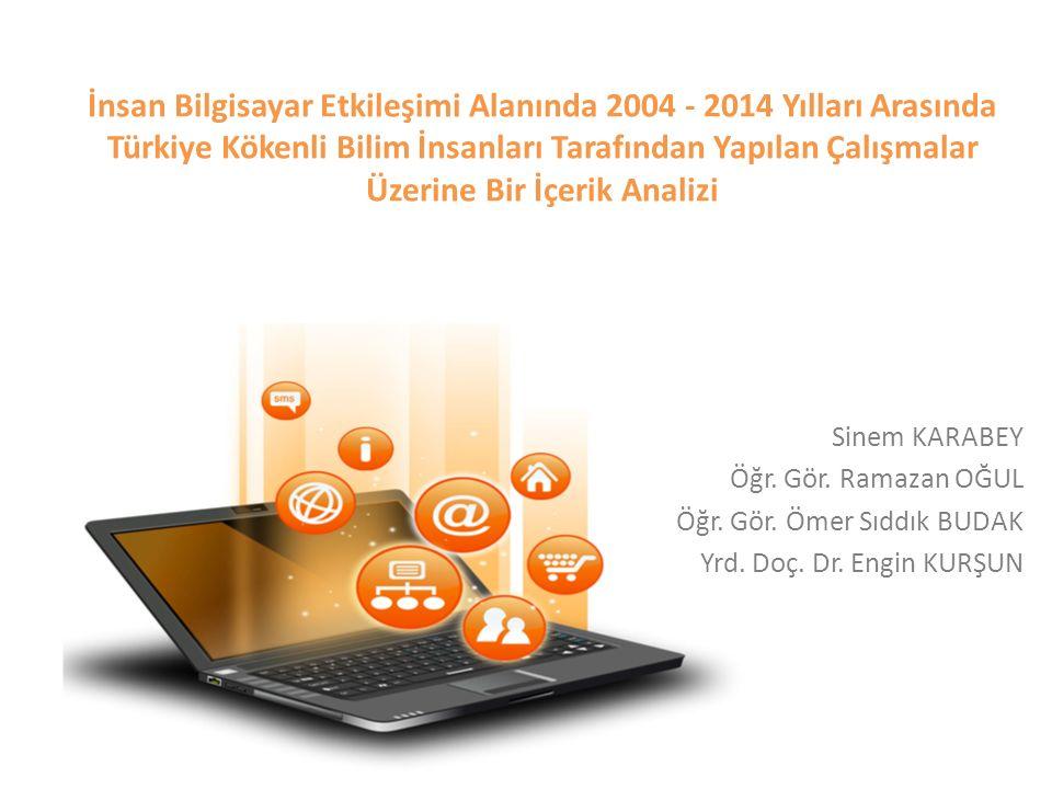 İnsan Bilgisayar Etkileşimi Alanında 2004 - 2014 Yılları Arasında Türkiye Kökenli Bilim İnsanları Tarafından Yapılan Çalışmalar Üzerine Bir İçerik Analizi Sinem KARABEY Öğr.
