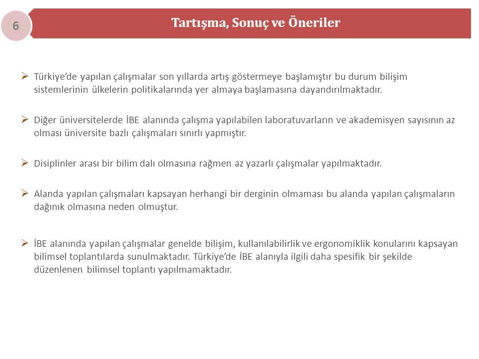  Türkiye'de yapılan çalışmalar son yıllarda artış göstermeye başlamıştır bu durum bilişim sistemlerinin ülkelerin politikalarında yer almaya başlamasına dayandırılmaktadır.