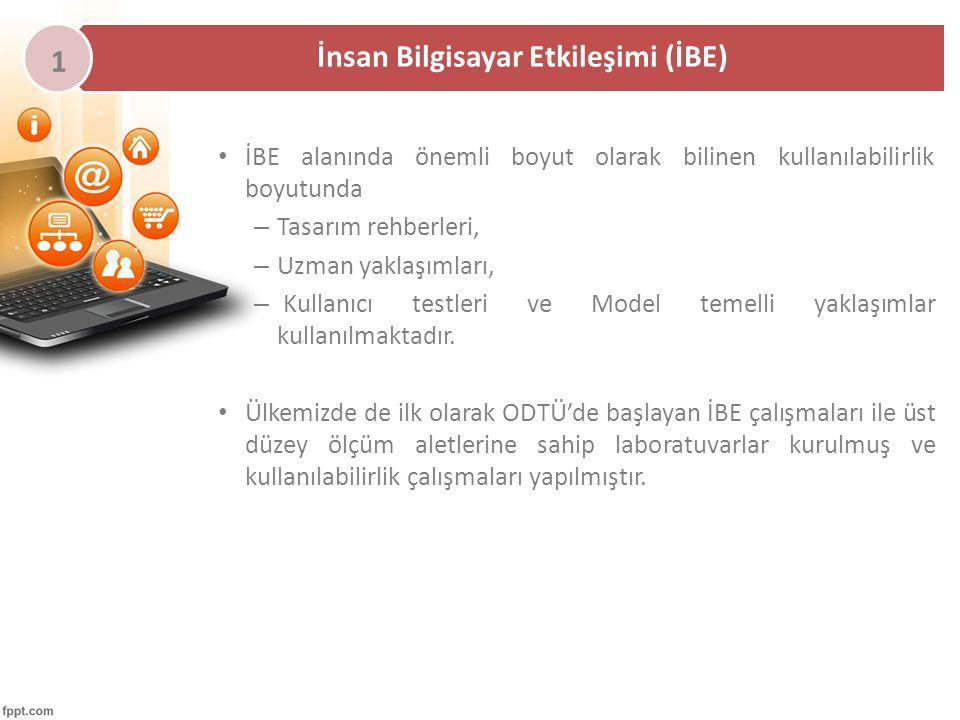 İBE alanında önemli boyut olarak bilinen kullanılabilirlik boyutunda – Tasarım rehberleri, – Uzman yaklaşımları, – Kullanıcı testleri ve Model temelli yaklaşımlar kullanılmaktadır.