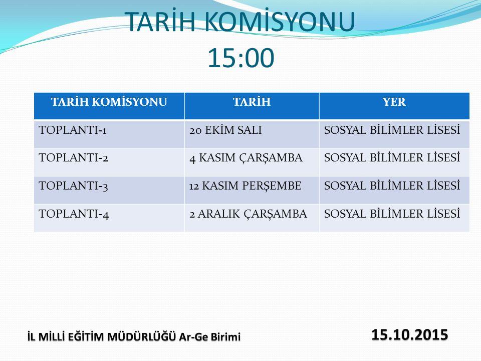 TARİH KOMİSYONU 15:00 TARİH KOMİSYONUTARİHYER TOPLANTI-120 EKİM SALISOSYAL BİLİMLER LİSESİ TOPLANTI-24 KASIM ÇARŞAMBASOSYAL BİLİMLER LİSESİ TOPLANTI-3