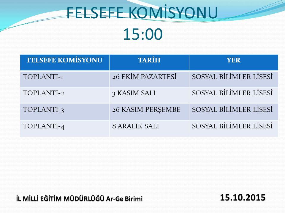 FELSEFE KOMİSYONU 15:00 FELSEFE KOMİSYONUTARİHYER TOPLANTI-126 EKİM PAZARTESİSOSYAL BİLİMLER LİSESİ TOPLANTI-23 KASIM SALISOSYAL BİLİMLER LİSESİ TOPLA