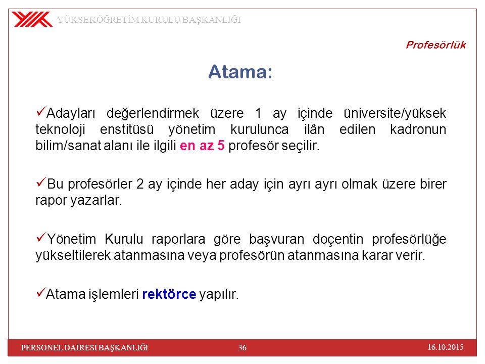 Profesörlük Atama: Adayları değerlendirmek üzere 1 ay içinde üniversite/yüksek teknoloji enstitüsü yönetim kurulunca ilân edilen kadronun bilim/sanat alanı ile ilgili en az 5 profesör seçilir.
