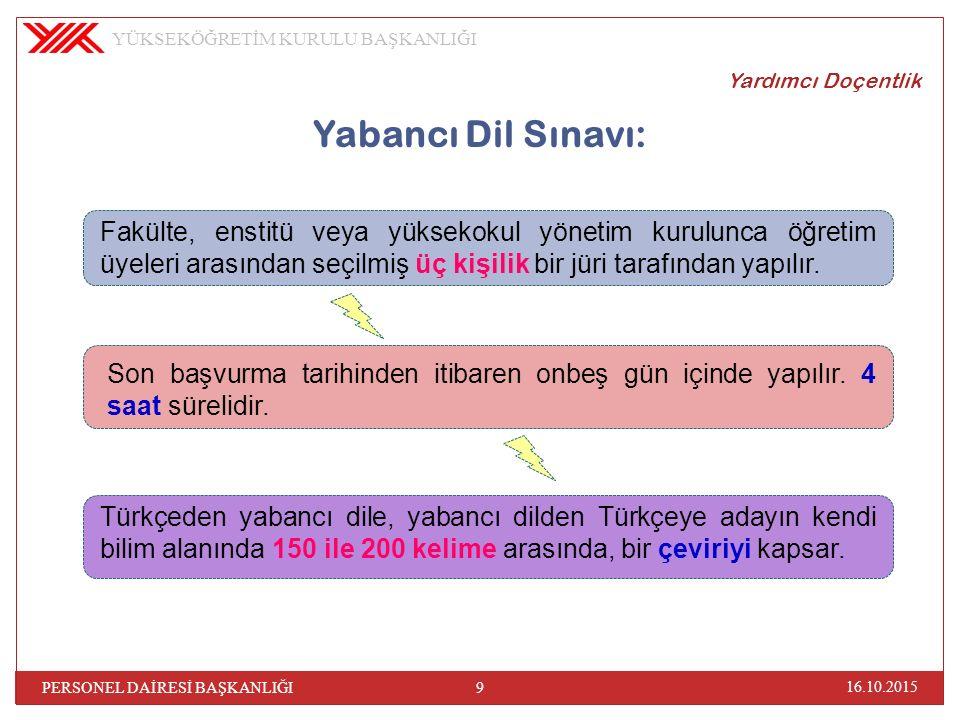 Yardımcı Doçentlik Yabancı Dil Sınavı: Sınav sonucu adaya aynı gün tebliğ olunur.