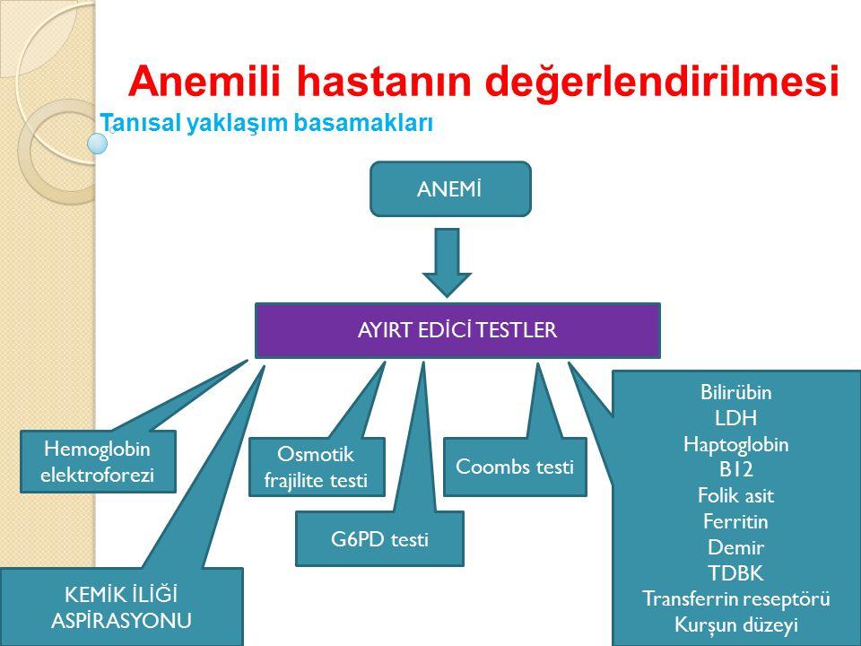 Anemili hastanın değerlendirilmesi Tanısal yaklaşım basamakları ANEM İ AYIRT ED İ C İ TESTLER Bilirübin LDH Haptoglobin B12 Folik asit Ferritin Demir TDBK Transferrin reseptörü Kurşun düzeyi Coombs testi G6PD testi Osmotik frajilite testi Hemoglobin elektroforezi KEM İ K İ L İĞİ ASP İ RASYONU
