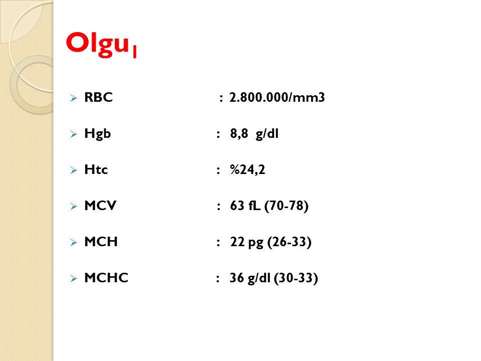 Olgu 1  RBC : 2.800.000/mm3  Hgb : 8,8 g/dl  Htc : %24,2  MCV : 63 fL (70-78)  MCH : 22 pg (26-33)  MCHC : 36 g/dl (30-33)