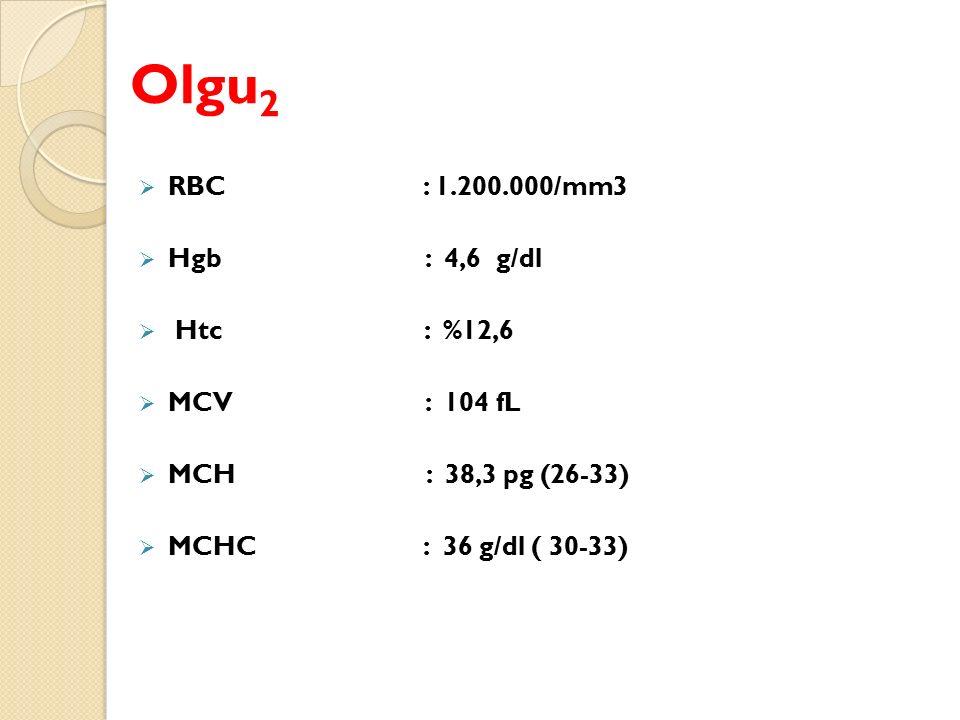 Olgu 2  RBC : 1.200.000/mm3  Hgb : 4,6 g/dl  Htc : %12,6  MCV : 104 fL  MCH : 38,3 pg (26-33)  MCHC : 36 g/dl ( 30-33)