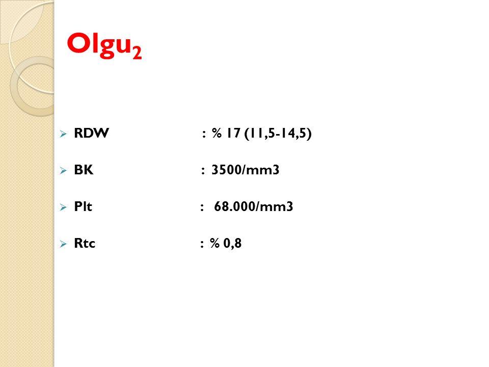 Olgu 2  RDW : % 17 (11,5-14,5)  BK : 3500/mm3  Plt : 68.000/mm3  Rtc : % 0,8