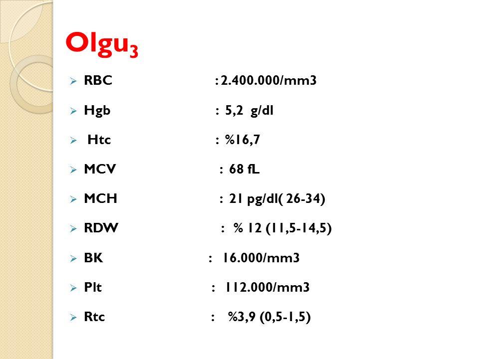 Olgu 3  RBC : 2.400.000/mm3  Hgb : 5,2 g/dl  Htc : %16,7  MCV : 68 fL  MCH : 21 pg/dl( 26-34)  RDW : % 12 (11,5-14,5)  BK : 16.000/mm3  Plt : 112.000/mm3  Rtc : %3,9 (0,5-1,5)