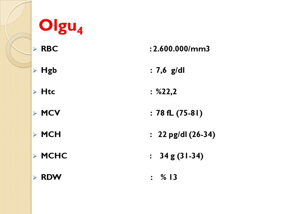 Olgu 4  RBC : 2.600.000/mm3  Hgb : 7,6 g/dl  Htc : %22,2  MCV : 78 fL (75-81)  MCH : 22 pg/dl (26-34)  MCHC : 34 g (31-34)  RDW : % 13