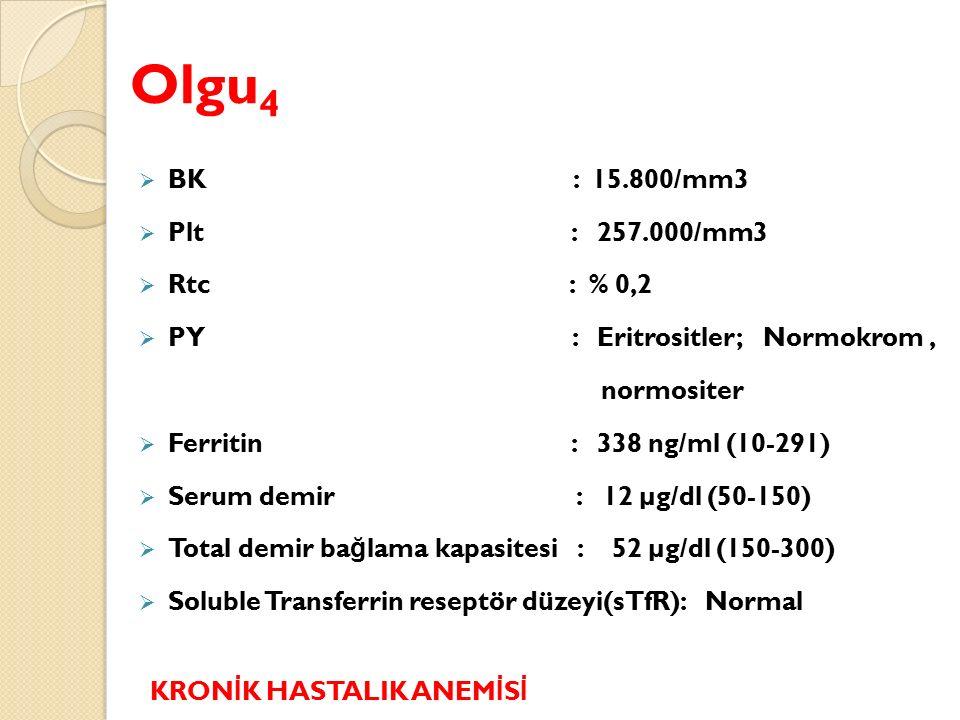 Olgu 4  BK : 15.800/mm3  Plt : 257.000/mm3  Rtc : % 0,2  PY : Eritrositler; Normokrom, normositer  Ferritin : 338 ng/ml (10-291)  Serum demir : 12 µg/dl (50-150)  Total demir ba ğ lama kapasitesi : 52 µg/dl (150-300)  Soluble Transferrin reseptör düzeyi(sTfR): Normal KRON İ K HASTALIK ANEM İ S İ