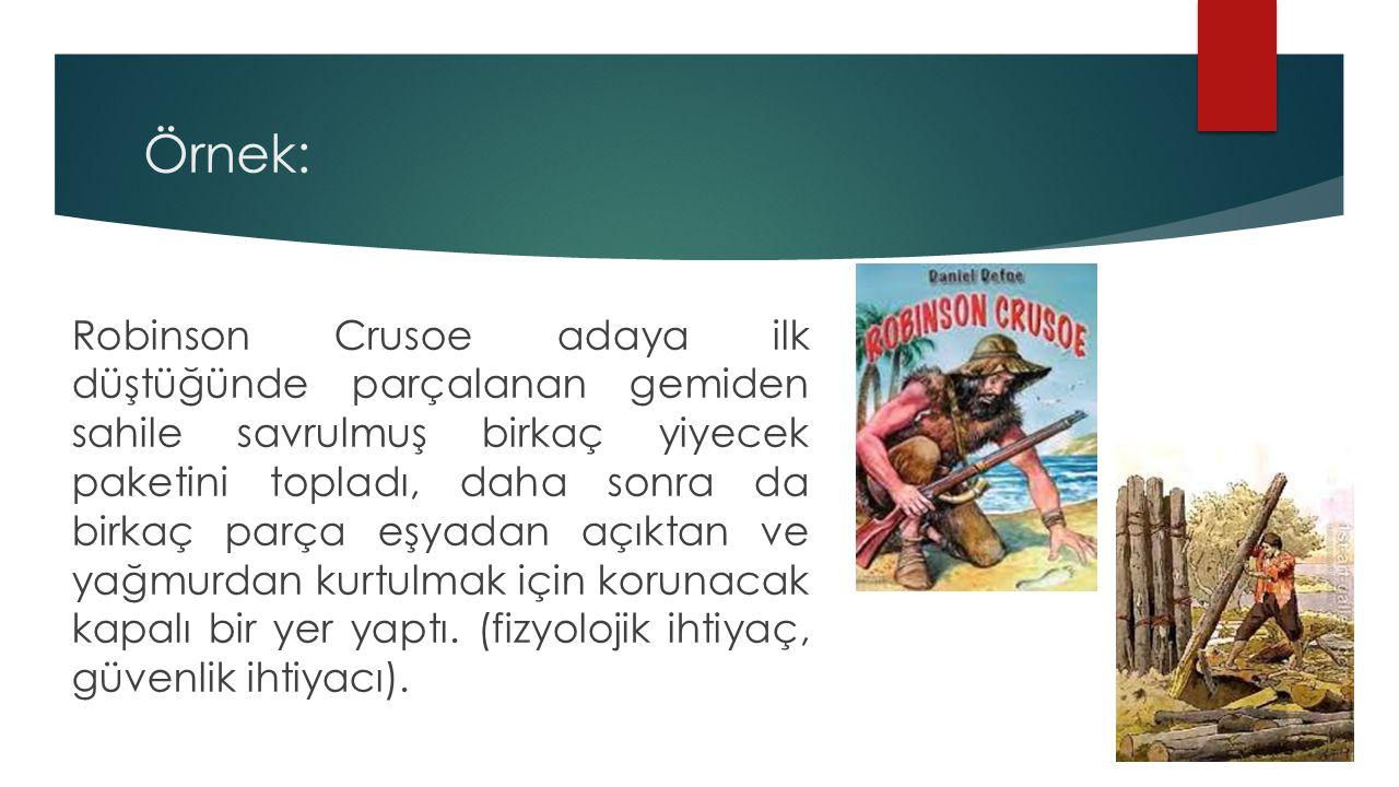 Örnek: Robinson Crusoe adaya ilk düştüğünde parçalanan gemiden sahile savrulmuş birkaç yiyecek paketini topladı, daha sonra da birkaç parça eşyadan aç