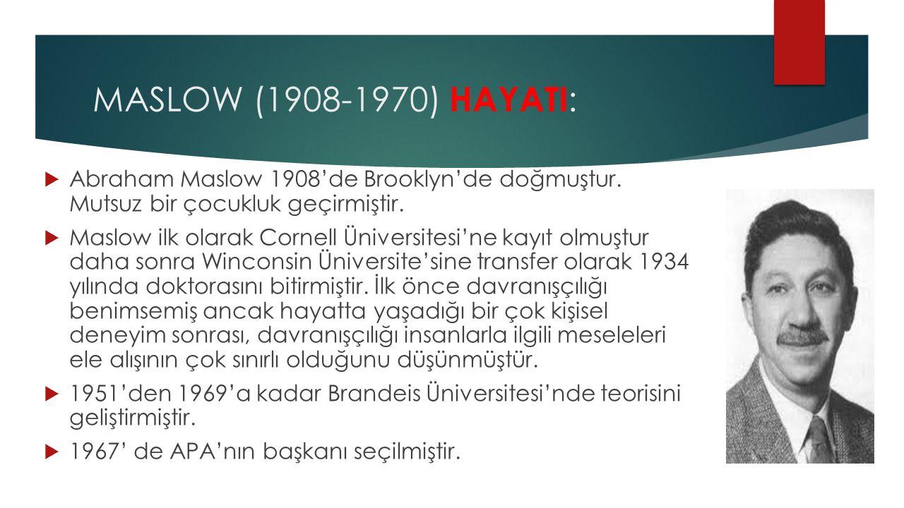 MASLOW (1908-1970) HAYATI :  Abraham Maslow 1908'de Brooklyn'de doğmuştur. Mutsuz bir çocukluk geçirmiştir.  Maslow ilk olarak Cornell Üniversitesi'
