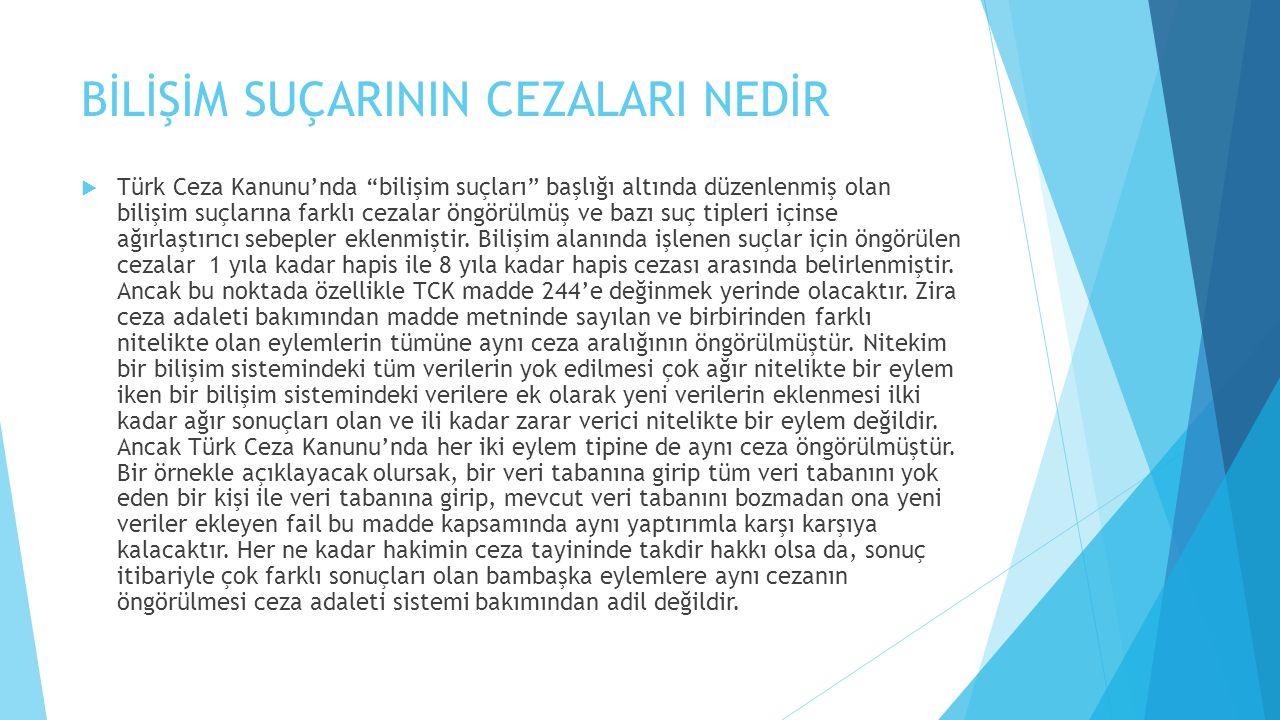 """BİLİŞİM SUÇARININ CEZALARI NEDİR  Türk Ceza Kanunu'nda """"bilişim suçları"""" başlığı altında düzenlenmiş olan bilişim suçlarına farklı cezalar öngörülmüş"""
