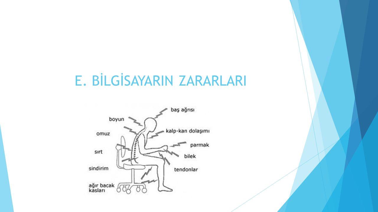 E. BİLGİSAYARIN ZARARLARI