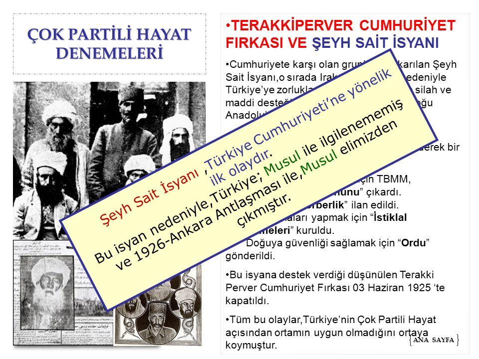 ÇOK PARTİLİ HAYAT DENEMELERİ ATATÜRK'E SUİKAST OLAYI M.KemalCumhuriyet'e karşı olanlar,emellerine ulaşmak için hedef olarak M.Kemal'i seçtiler.M.Kemal'in ortadan kaldırılmasıyla Cumhuriyet ve ona bağlı olarak yapılan inkılapların yok olacağını düşünüyorlardı.