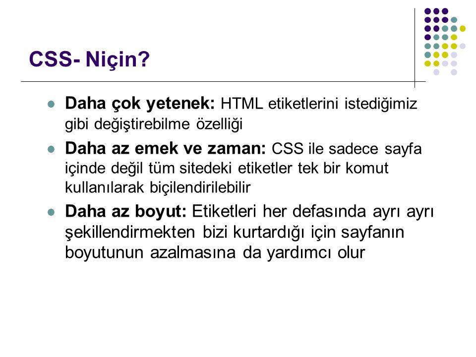 CSS- Niçin.
