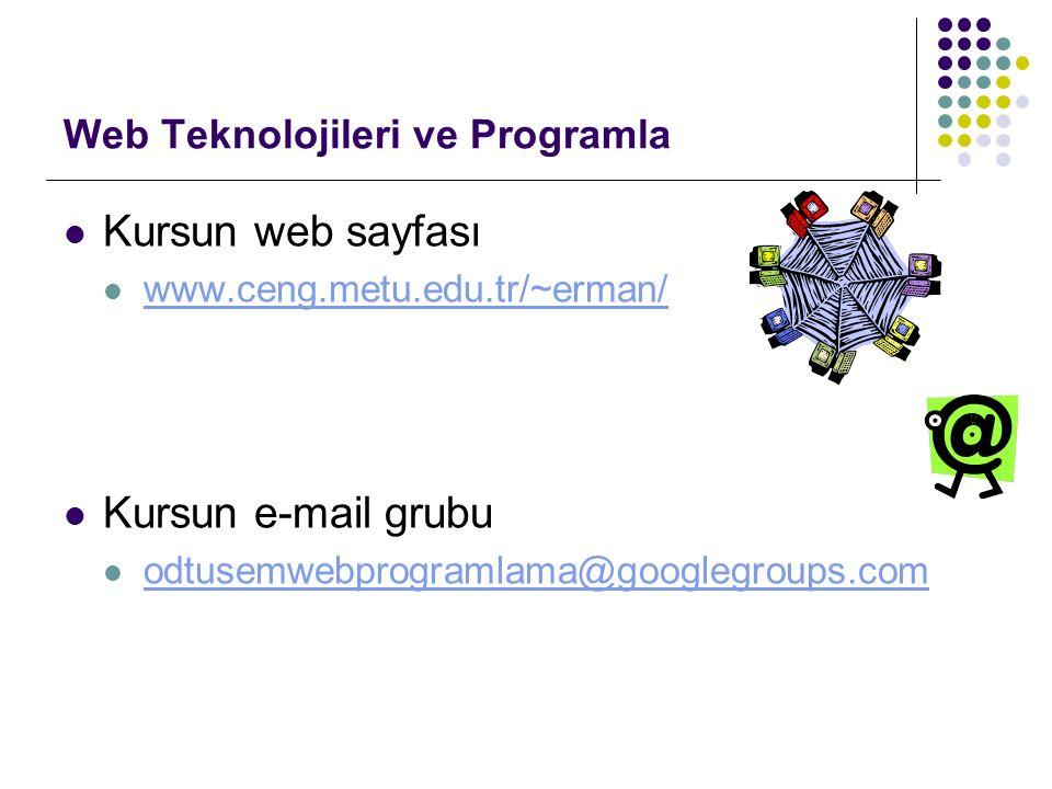 Web Teknolojileri ve Programla Kursun web sayfası www.ceng.metu.edu.tr/~erman/ Kursun e-mail grubu odtusemwebprogramlama@googlegroups.com
